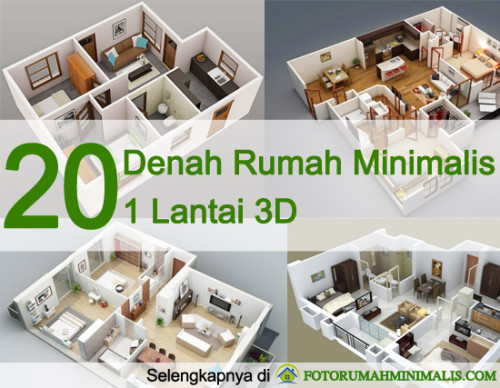20 Denah Rumah Minimalis 1 Lantai 3D
