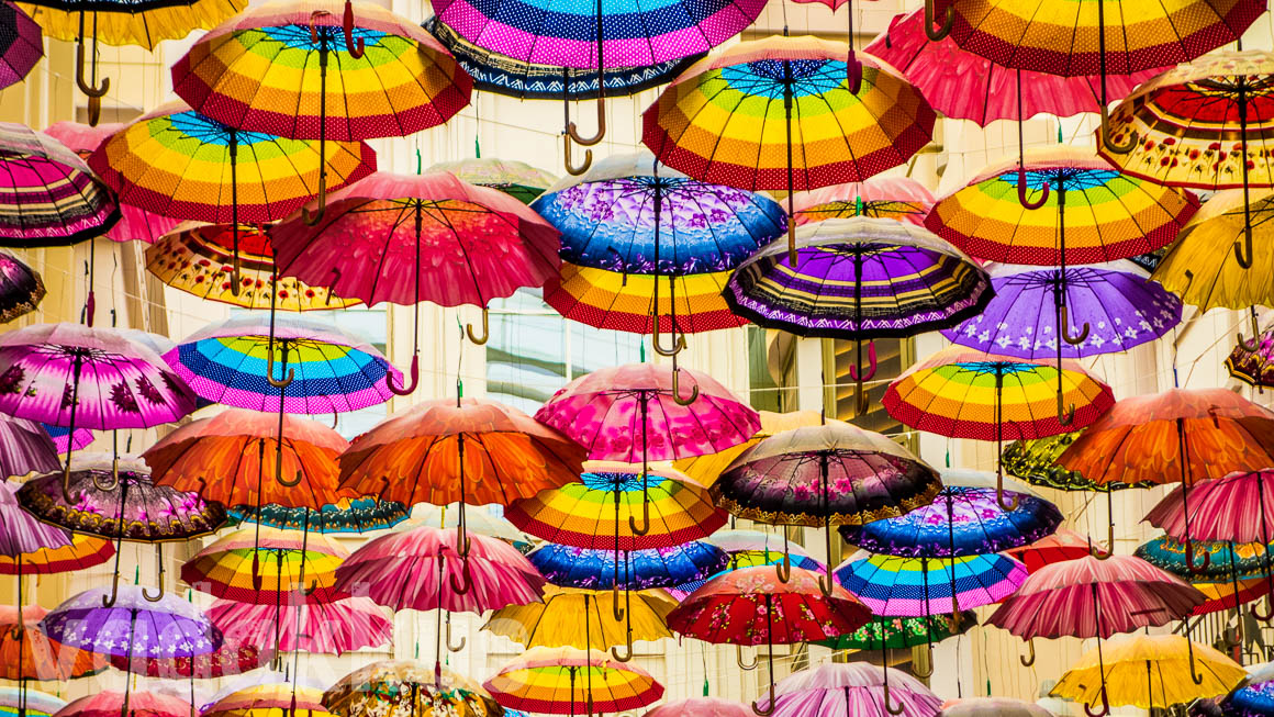 Umbrellas Hang Around Adding Color to The Village at Dubai Mall