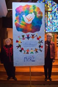 Jan Babcock and Peg Cheney with the 150th Quilt They Created