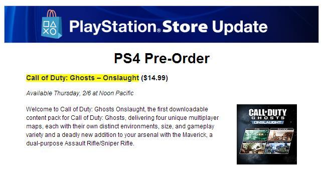 """CoD ゴースト:DLC""""Onslaught""""、PS3,PS4に明日配信! PS公式ブログに掲載"""