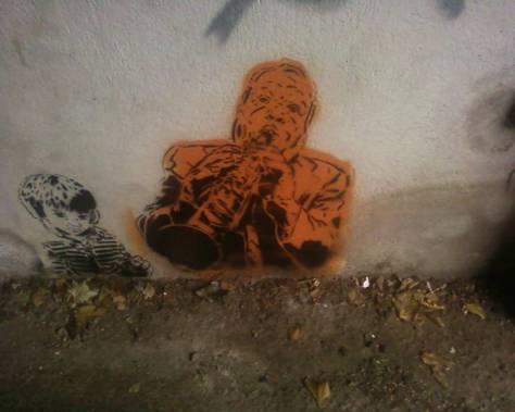 Stencil jazman and kid - Epinal