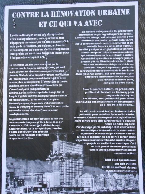 contre la rénovation urbaine - affiche besancon - avril 2014