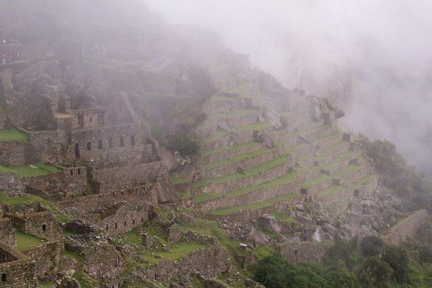 Foggy sky over Machu Picchu, Urubamba Province, Peru.