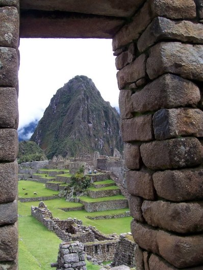 View through the main stone gate at Machu Picchu, Urubamba Province, Peru