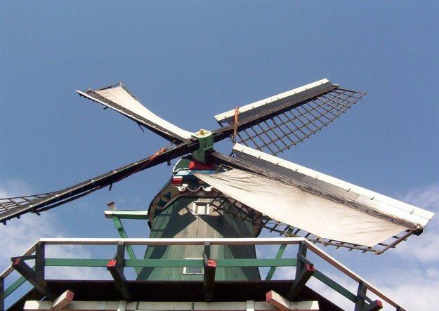 Windmill sails at zaanse schans, the netherlands
