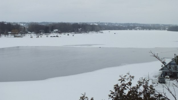 Ottawa River - frozen with fish huts on it - Canada