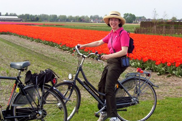 Jean on bike in tulip field lisse netherlands