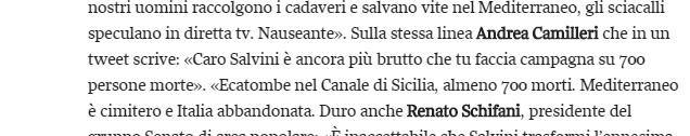 Salvini attacca dopo il naufragio  «Altri morti sulla coscienza del Pd» Renzi  «Come restare insensibili »   Corriere.it