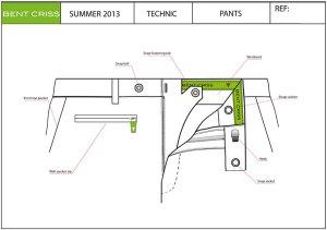 Franck Audrain-Bent Criss-Collection-Homme-PE14-Croquis Technique de Pantalon