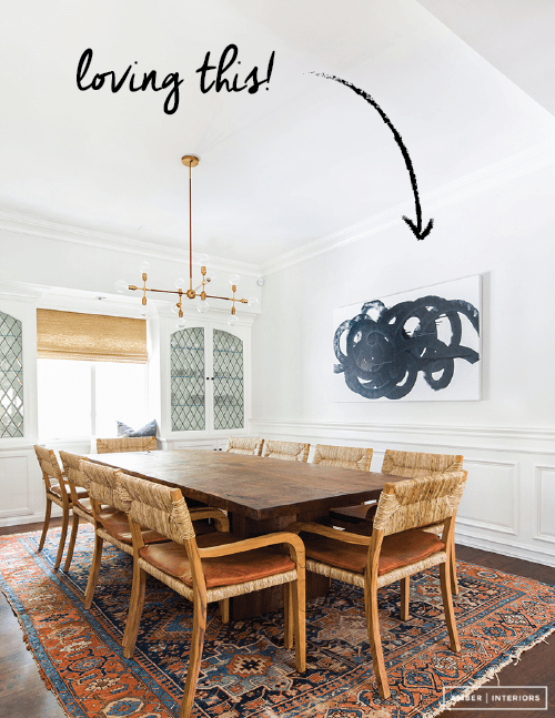 I love Amber Interiors' use of abstract brushstroke art here. Learn how to make brushstroke art for your own home. Click for ideas!