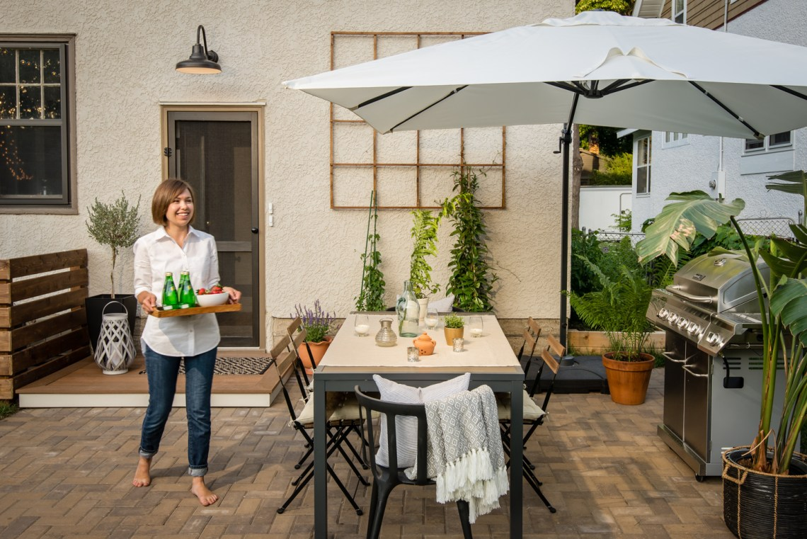 Peek into our backyard for full before and after details of our backyard redesign, including where to source everything for your own outdoor space!