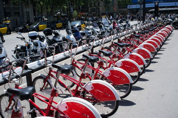 Public bicycles abound in Barcelona.