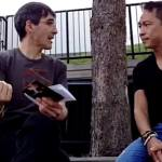 Frank with flutist Christopher Lee talking about the piece diskriminatsiya