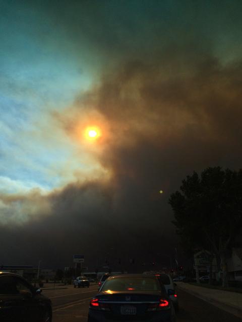 Blue Cut Fire, Day 1. Around 5:15 pm, Main Street, Hesperia, CA.
