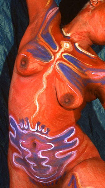Bright Seed, 2000, bodypaint and photo by Fred Hatt