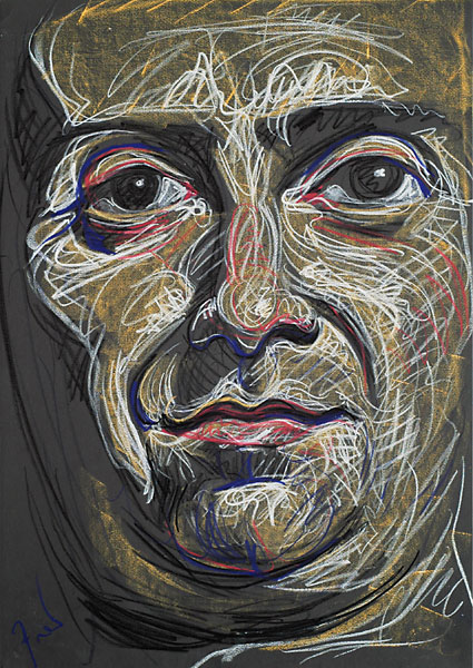 Triumphant face, 2005, by Fred Hatt