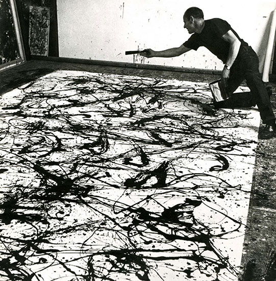 Jackson Pollock Painting in his Long Island Studio, 1950, photo by Hans Namuth