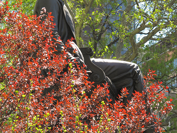 Statue in Spring, 2010, photo by Fred Hatt