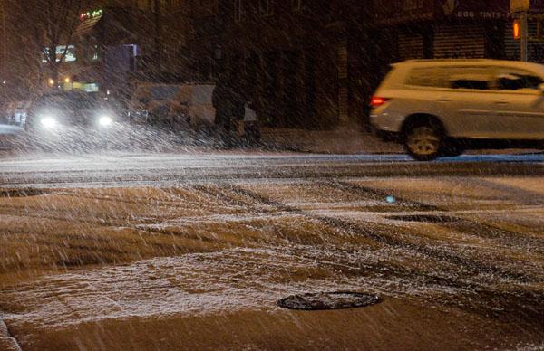 Headlights in Snow, 2013, photo by Fred Hatt