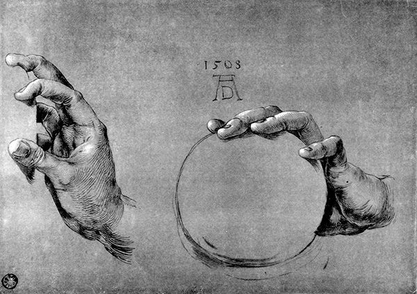 Study of the Hands of God the Father, 1508, by Albrecht Dürer