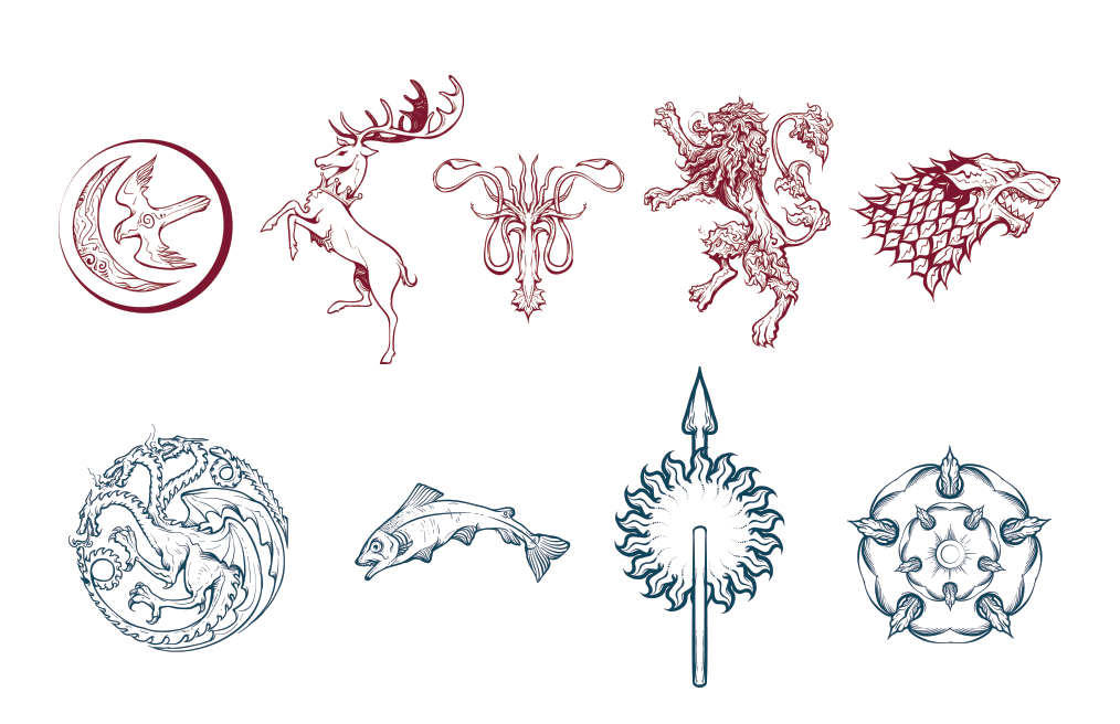 game of thrones house logos