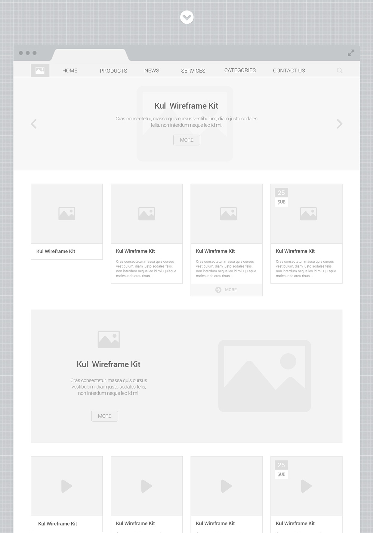 20 Elements Free KUL UI Wireframe Kit