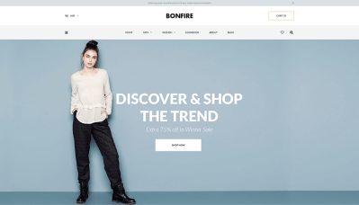 Free Bonfire – E-commerce Website Home PSD