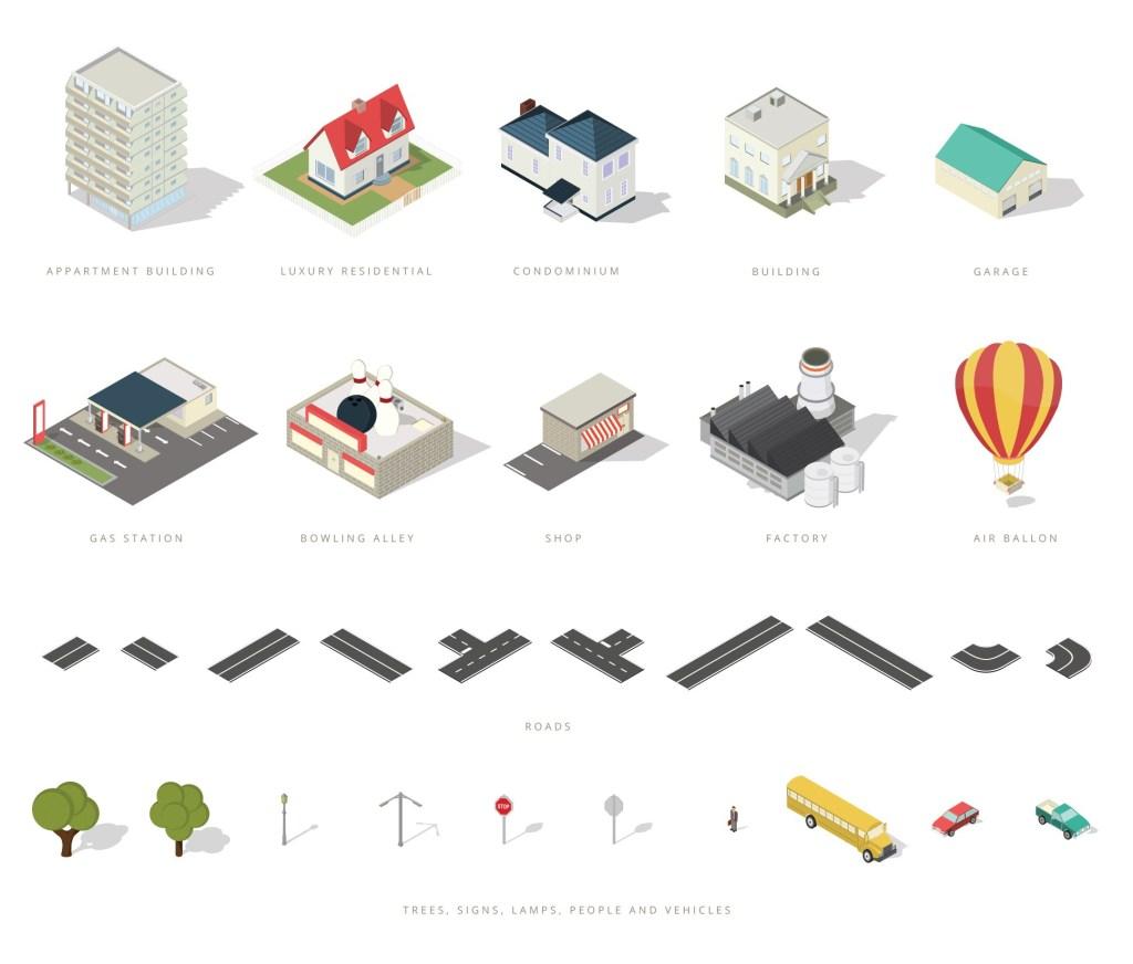 Free Isometric City Map Elements