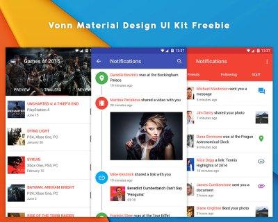 Vonn Material Design UI Kit Freebie