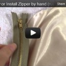 how to sew or install zipper by hand