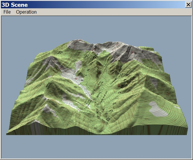 3D Perspective Views With 3DEM Terrain perspective view with topographic map draped in 3DEM