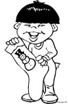 Boy With Christmas Stockings Print out coloring pages