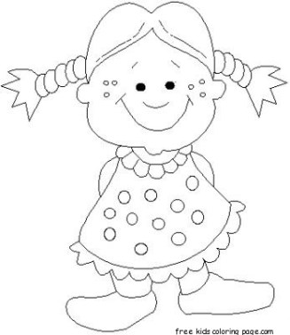 Print out girl doll smiles coloring pages