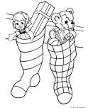 Christmas stockings filled with toys coloring pages