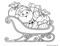 Printable Christmas Santa Claus with Sleigh and Gifts coloring pages