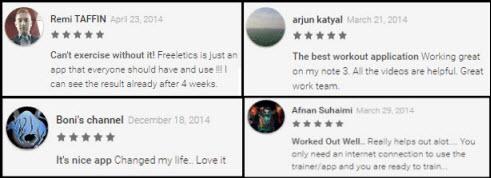 Freeletics app testimonials