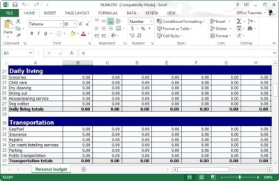 Free Personal Budget Planner Template for Excel