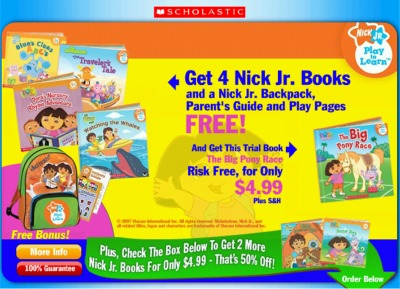 Sponsored: Scholastic Nickelodeon Nick Jr 4 Free Books, Backpack, Parent
