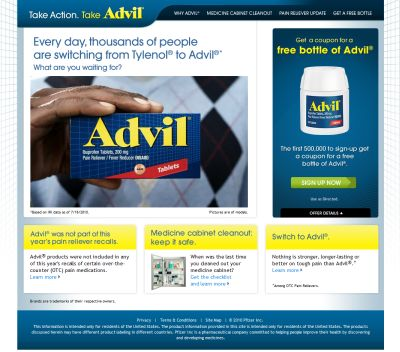 TakeAdvil.com Coupon for a Free Bottle of Advil - US