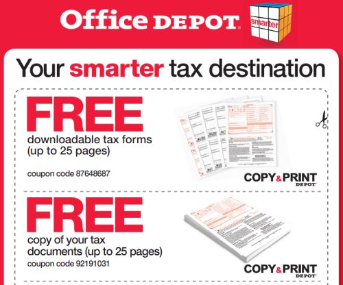 Office Depot Free Printable Coupons for Free Downloadable Tax Forms, Free Copy of Your Tax Documents and Free Shredding - Exp. April 23, 2011, US