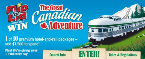 FlipTheLid.com The Great Canadian Adventure Win 1 of 10 Premium Hotel and Rail Packages and $7,500 to Spend or Win 1 New iPad Every Day - Exp. October 28, 2011, Canada