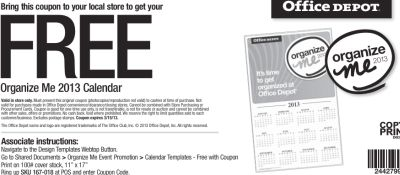 Office Depot Free Organize Me 2013 Calendar Printable Coupon