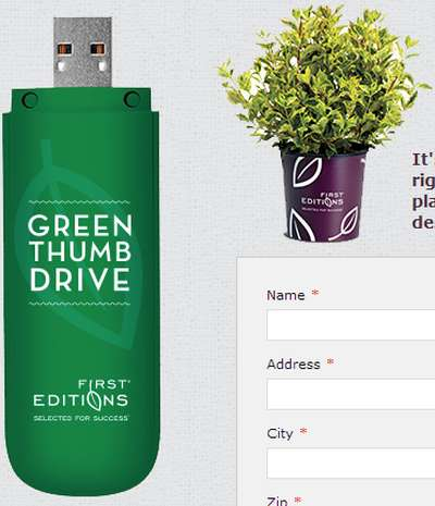 First Editions Plants Free Thumb Drive with Gardening Tips - US