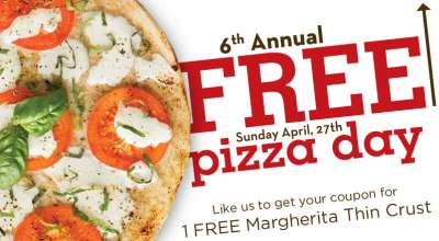 Stevi B's Pizza 6th Annual Free Pizza Day on Sunday, April 27, 2014 via Facebook - US