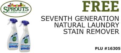 Sprouts Farmers Market Free Printable Coupon for Free Seventh Generation Natural Laundry Stain Remover - Exp. April 20, 2014