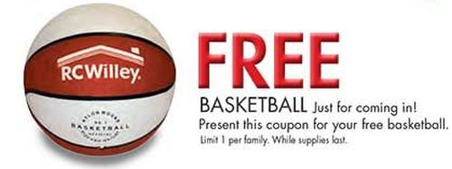 RC Willey Coupon for a Free Basketball - Exp. August 2, 2014