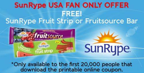SunRype USA Free Fruit Strip or Fruitsource Bar via Facebook - US
