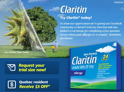 Claritin Free Trial Size Sample via Facebook - Canada