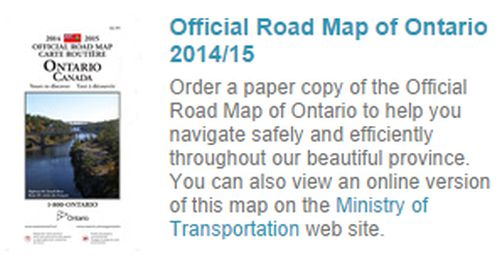 Ontario Free Official Road Map of Ontario - Canada