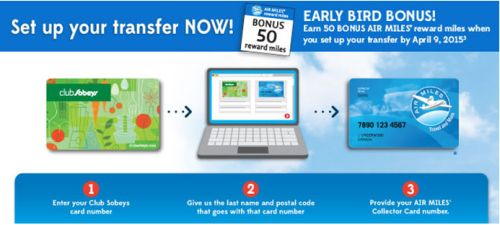 Club Sobeys Conversion to Air Miles: 50 Bonus Air Miles Rewards Miles - Exp. April 9, 2015, Ontario